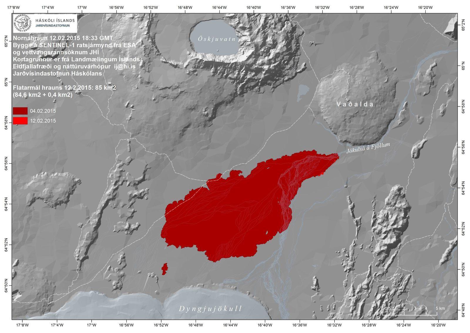 Holuhraun - le champ de lave atteint 85 km² le 12.02.2015