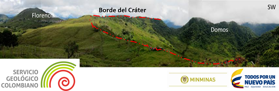 El Escondido - the crater rim (red dot) and the domes - photo Observatorio volcanologico de Manizales