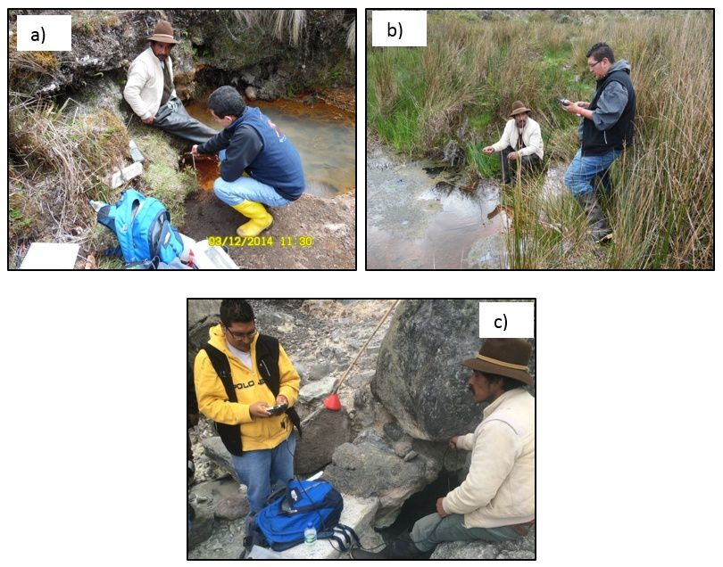Ecuador - Sampling and physico-chimic measures in sectors of a) Potrerillos, b) Arteson, and c) Aguas Hediondas. - Doc. IGEPN