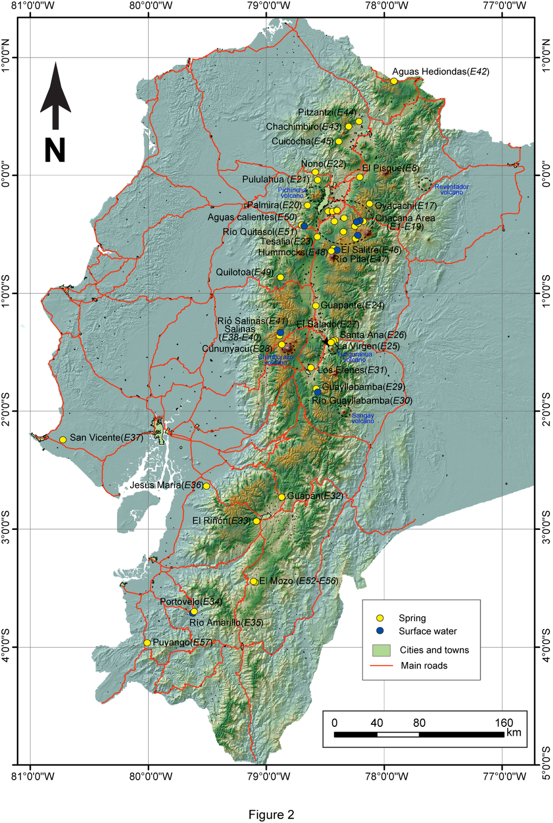 Distribution of thermal springs in Ecuador, located almost entirely on the volcanic Cordillera - Map IGEPN
