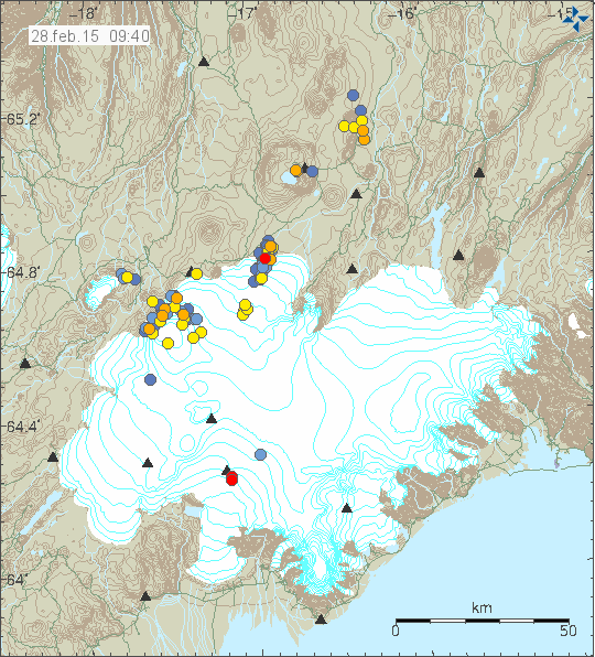 Location and magnitude of earthquakes on the Vatnajökull 28/02/2015 at 9:40 am - Doc. IMO
