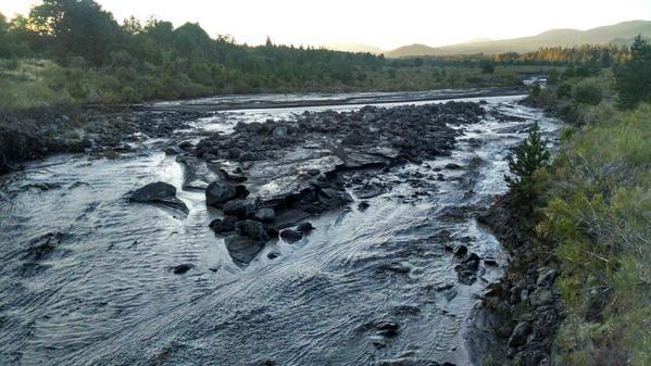 Villarica - lahar det hausse du niveau du Río Turbio - photo Twitter / zonalacustre