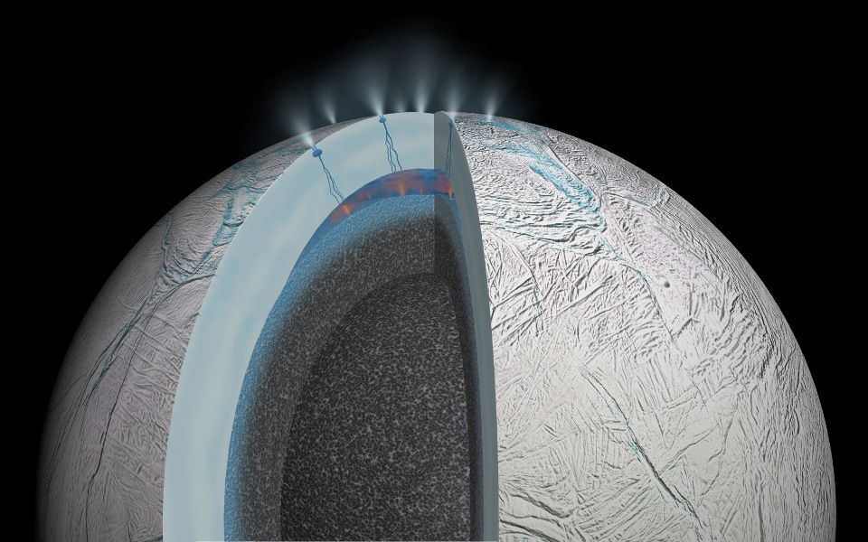 Artist's impression showing hydrothermal activity on the seafloor subsurface Enceladus under the ice cap - Doc. Copyright NASA / JPL-Caltech 03/11/2015