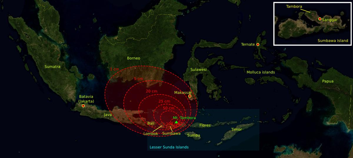 Isopaques des retombées de cendres du Tambora, couvrant le sud de Sulawesi, Bali, Lombok, l'est de Java et le sud de Bornéo. - The base map was taken from NASA picture and the isopach maps were traced from Oppenheimer (2003).