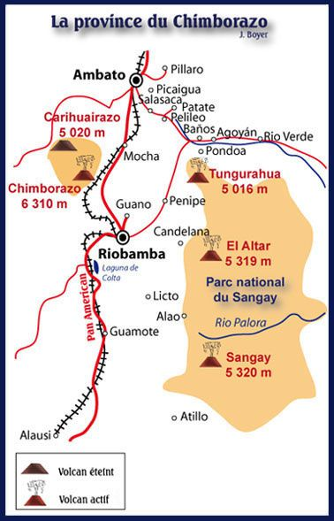 Localisation du Sangay dans la province du Chimborazo - Carte des risques volcaniques / from an online poster by Ordóñez and others, 2014