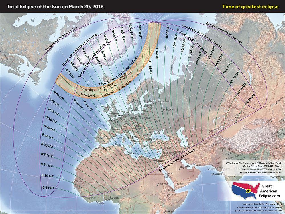 Zone de visibilité de l'éclipse - doc. Great American eclipse