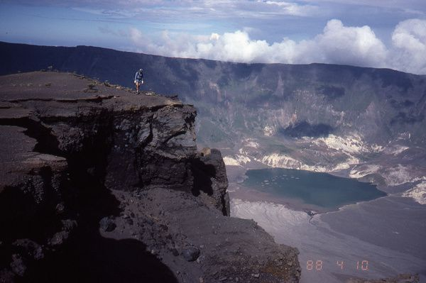 Tambora caldera - sulfur gases rise from the caldera - 1988