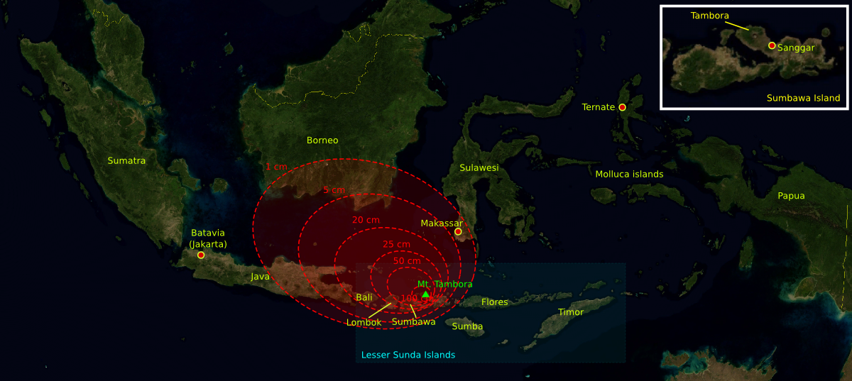 Isopacks of Tambora ash fallout, covering South Sulawesi, Bali, Lombok, East Java and southern Borneo. - The base map was taken from NASA picture and the isopach maps Were traced from Oppenheimer (2003).