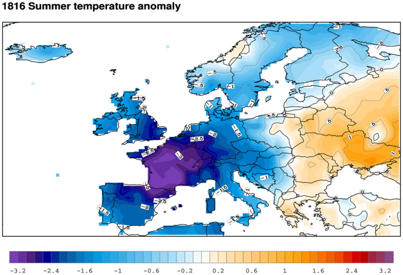 Summer 1816 - temperature anomalies recorded in Europe - doc.CNCEP