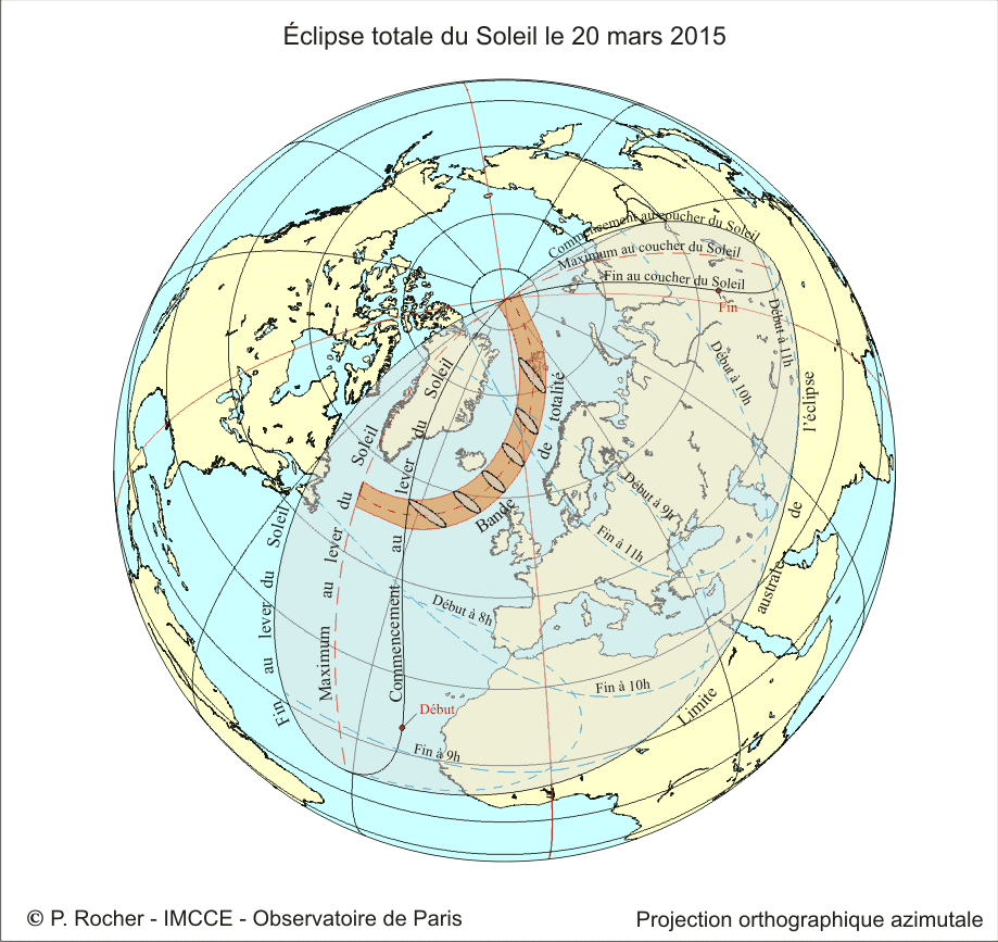 Visibility zone of the eclipse - Doc. IMCCE / Paris Observatory / P.Rocher