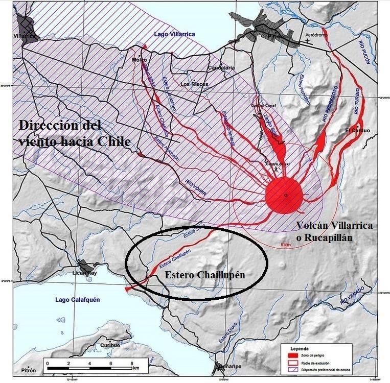 Villarica - carte des zones à risque réactualisée en fonction des vents dominants - doc. Sernageomin