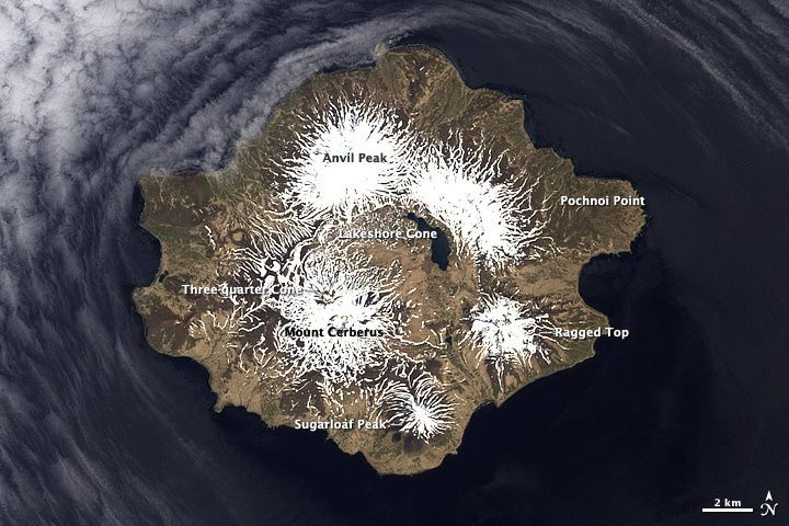 The summits of Semisopochnoi - Doc. NASA EO