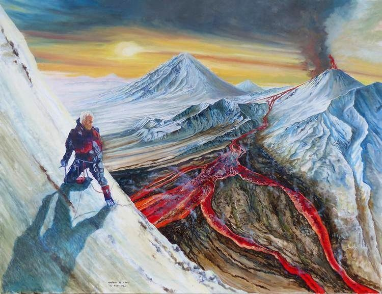 """Lava Hunter in Kamchatka"" -  by Jocelyn Lardy - oil on canvas 110x85 cm."