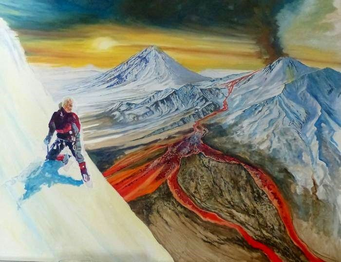 """Lava Hunter in Kamchatka"" - the shadow of the lava hunter and projections at the top of the volcano still not accomplished (compare this photo to the finished painting below)"