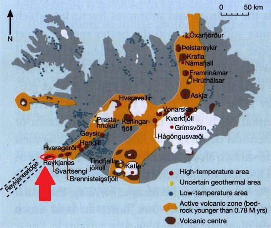 Volcanic centers and high temperature geothermal areas - Doc. Icelandic geosurvey