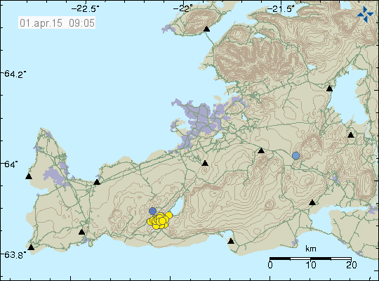 Seismic swarm on the Krísuvík 31.03.2015 (yellow circles) - doc.IMO