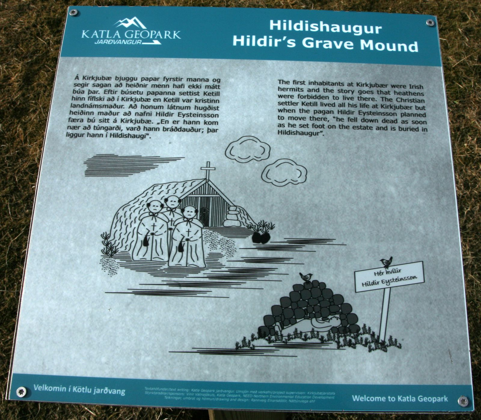 Hildishaugur and its explanatory panel - photo © 2015 Bernard Duyck