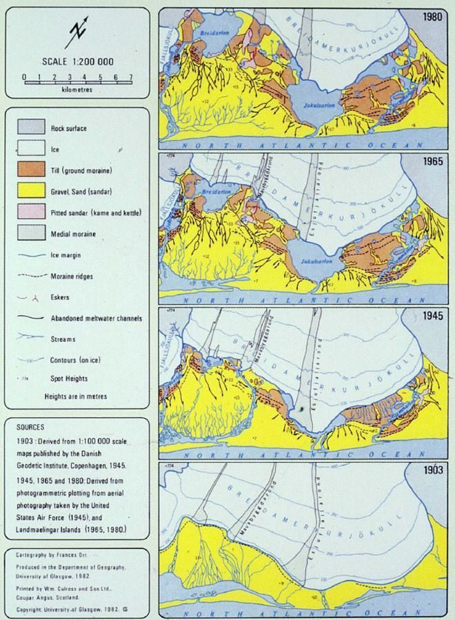 Breiðamerkurjökull declining between 1903 and 1980 - doc.Geodetic Danish Inst. & USAF