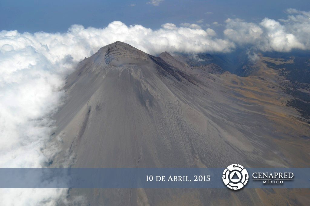 Le sommet du Popocatepetl le 10.04.02015 - photo Cenapred