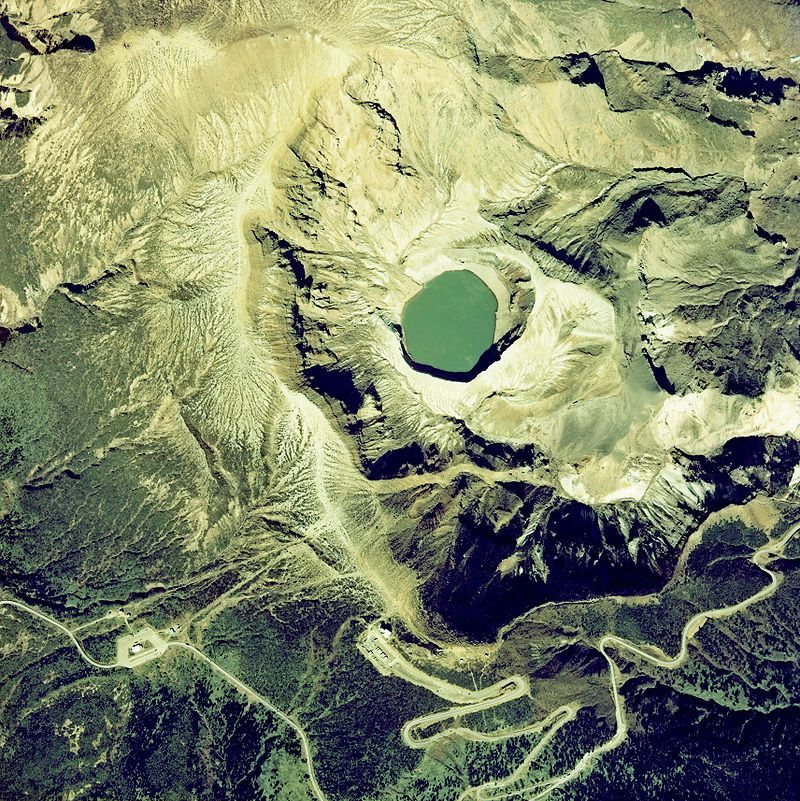 Zaosan: the Okama crater lake - aerial photo NeuroPower