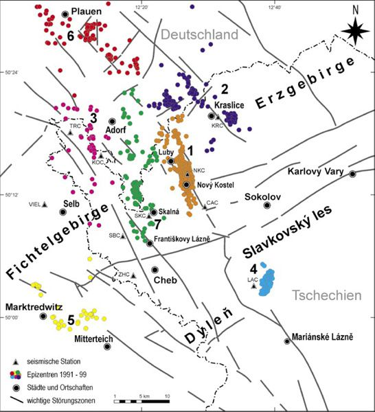 Seismic swarms in Bohemia and Vogtland - Epicentres from 1991 to 1999 and regional faults - Doc. A.Peterek - NKC: seismographs Novy Kostel
