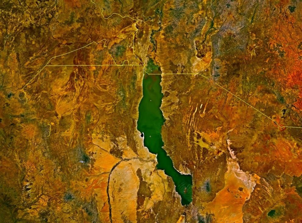 "Satellite view of Lake Turkana, the ""Jade Sea"" in the Kenyan Rift"