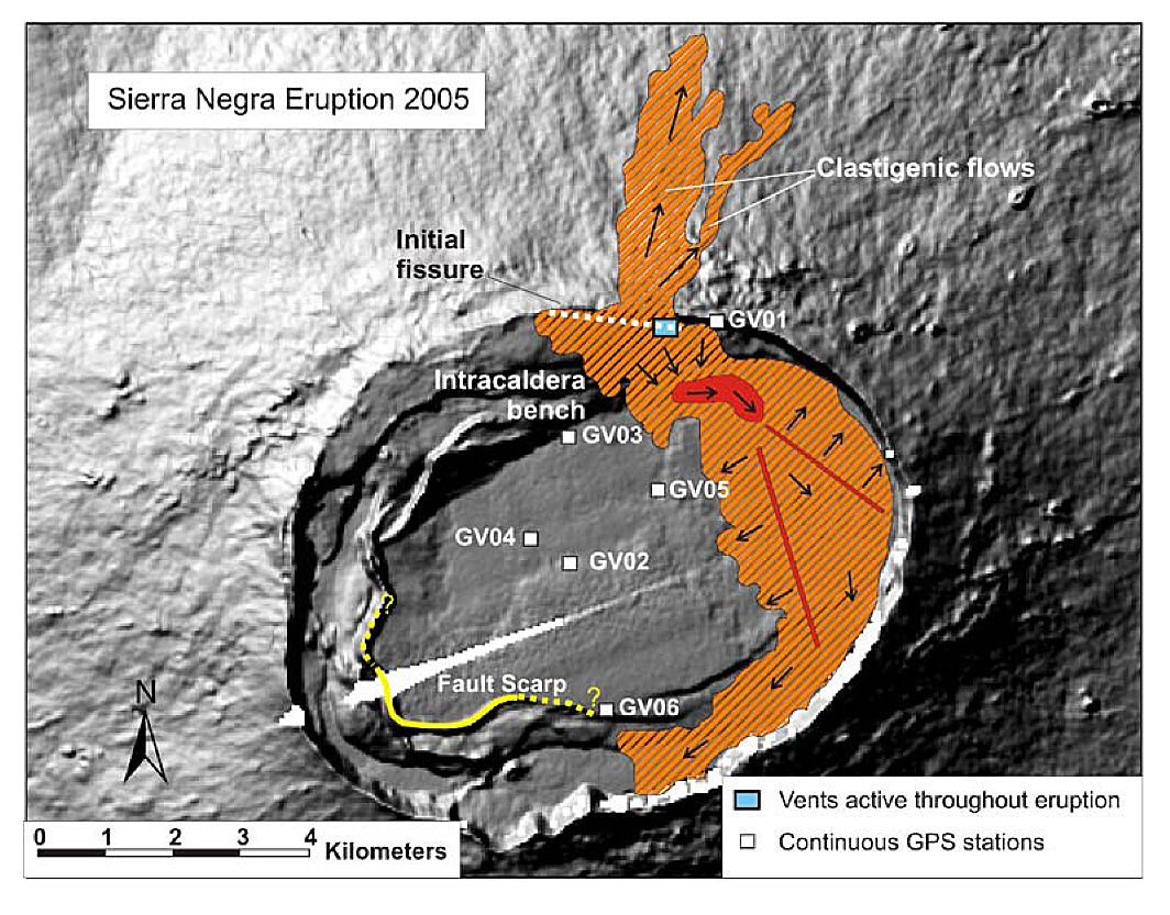 Sierra Negra eruption 2005 - position of the eruptive fissure, the active vent, the small lava lake feeding the cast (in red), and lava flows with directions (in orange) - doc D.Geist et al.