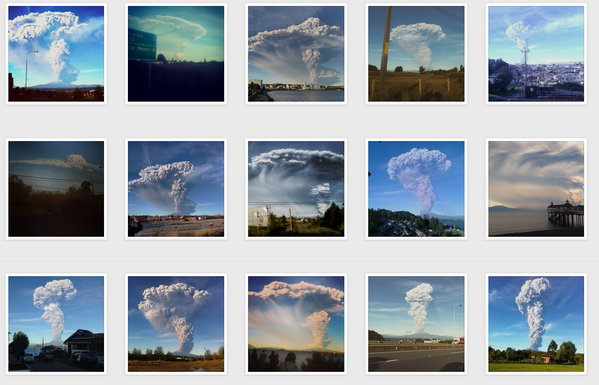 Calbuco 22.04.2015 - une série de photos via Instagram