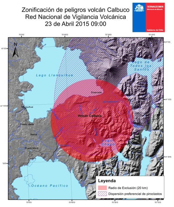 20 km restriction zone. around Calbuco established by the SERNAGEOMIN