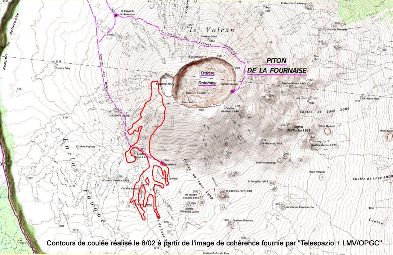 Contours de la dernière coulée au Piton de La Fournaise - doc. Telespazio & LMV/OPGC