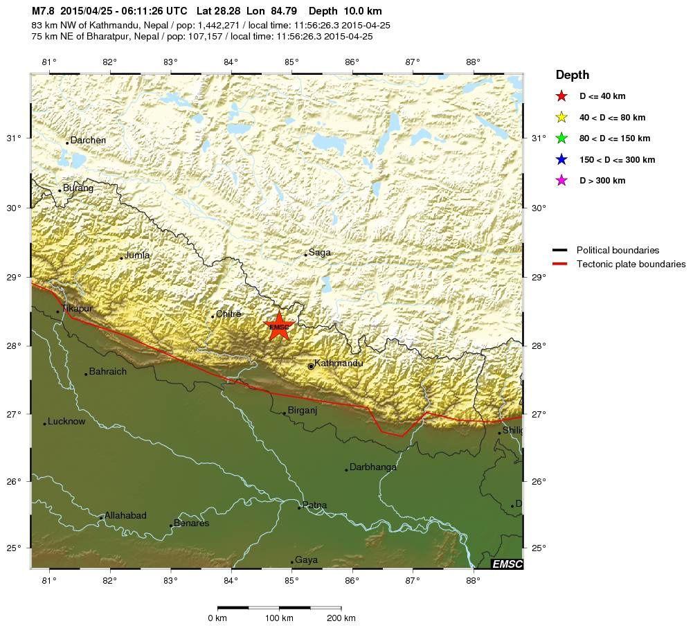 Localisation de l'épicentre du séisme de M7,8 / 10 km prof. / 25.04.2015 - doc. EMSC