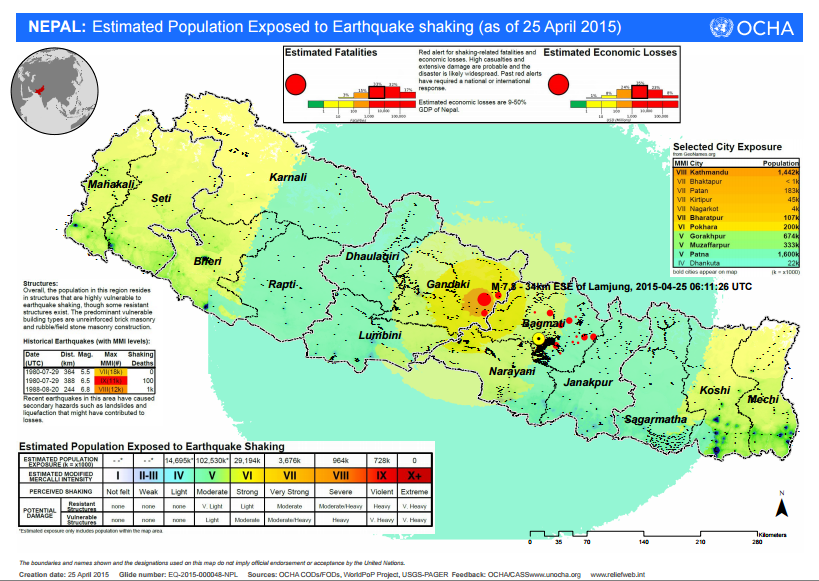 Areas where people have been affected and estmation of the number of casualties and damages - map OCHA / bit.ly-1ECKKQR NepalQuake / Relief web Twitter