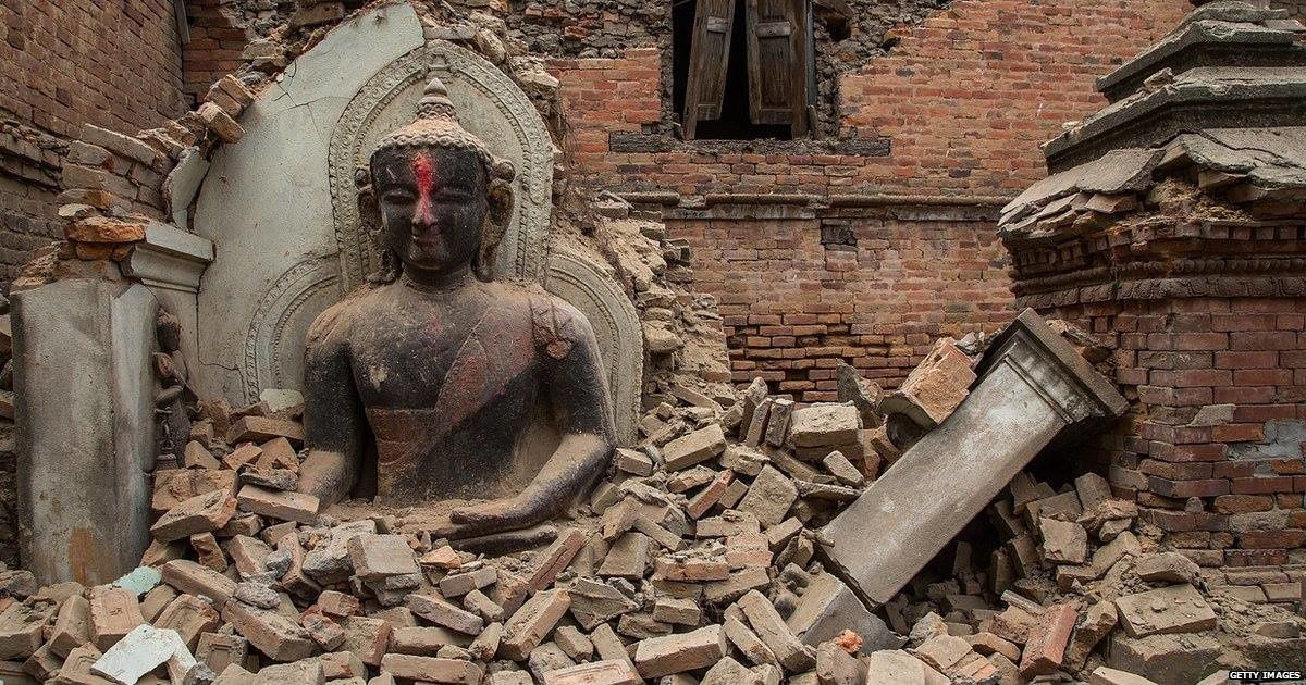 Destruction in Nepal - photo BBC News