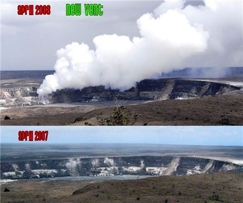 Kilauea / Halema'uma'u - April 2007, before & April 2008, after opening of the Crater Overlook - photos HVO