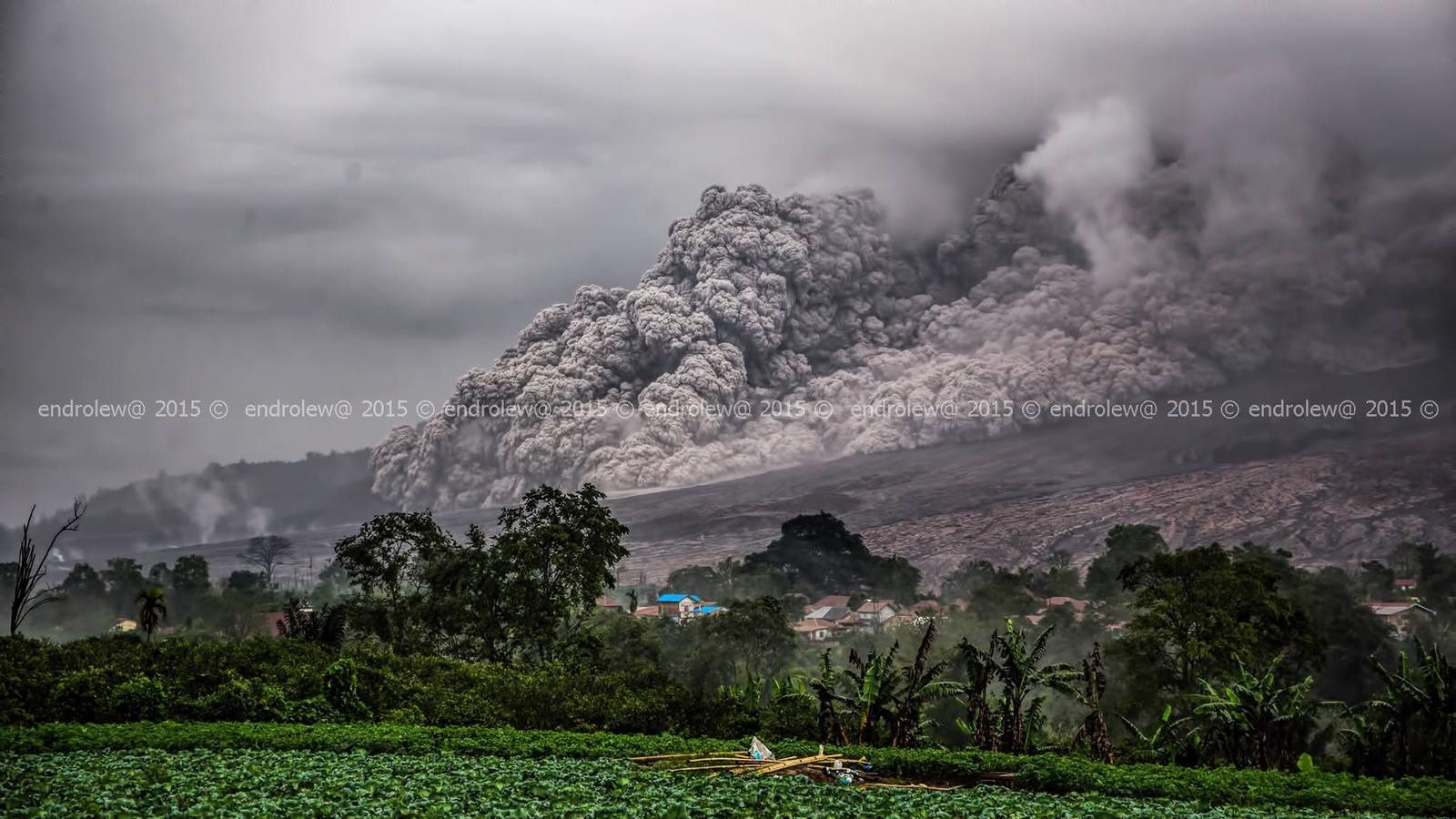 Sinabung - coulée pyroclastique du 28.04.2015 / 17h34 - photo Endrolew@