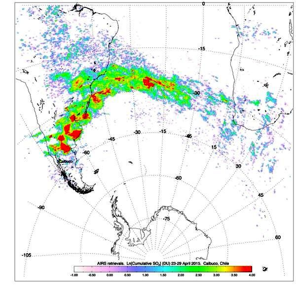 Eruption of Calbuco - Doc. compilation of sulfur dioxide AIRS data from April 23-29, 2015, showing the Calbuco plume spreading eastward. NASA
