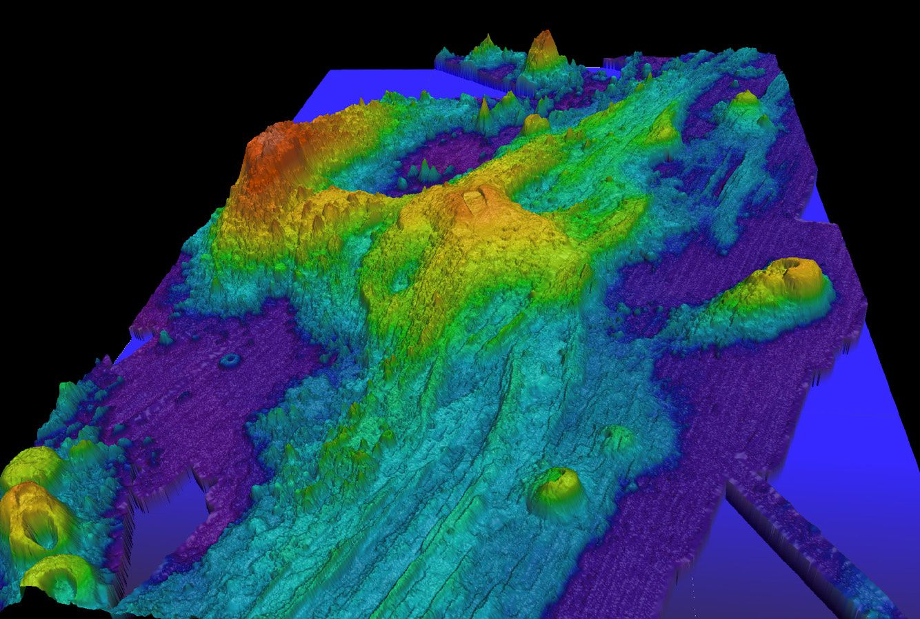 Axial Seamont - bathymetry (exaggerated) of the submarine volcano - Doc. NOAA