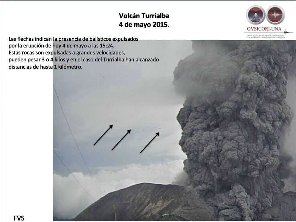 Turrialba - 04.05.2015 / 3:24 p.m. - the arrows indicate the presence of bombs ejected at high speed - Doc. Ovsicori