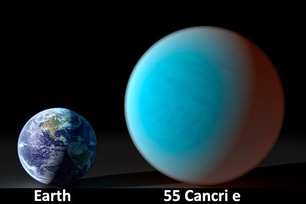 Earth 55 Cancri e and Earth compared in this artist proof - Doc.55 Cnc e / NASA exoplanet archive