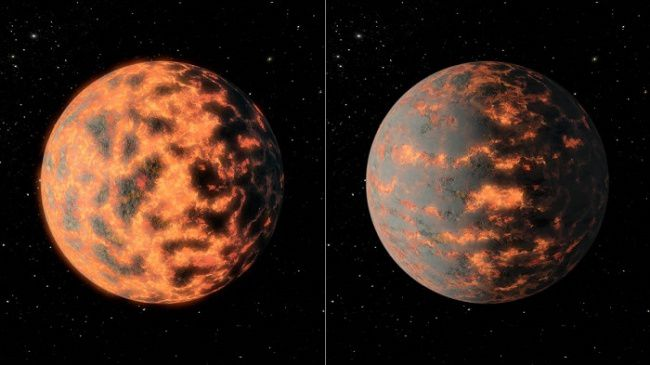 55Cancri e artist Views, showing a hot and partially melt surface of the exoplanet, before and after a potential volcanic activity on his day side - pictures R.Hunt
