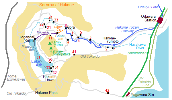 Map of Hakone's somma - withe the lake Ashi and the touristic zones