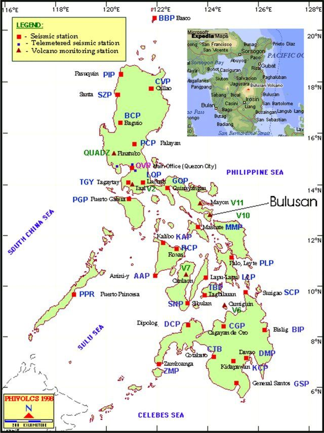 Bulusan location in the  Philippine archipelago