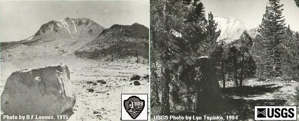 "Lassen Peak - la Devastated area ""Before & after""  1915 / 1984 - doc. archives USGS"