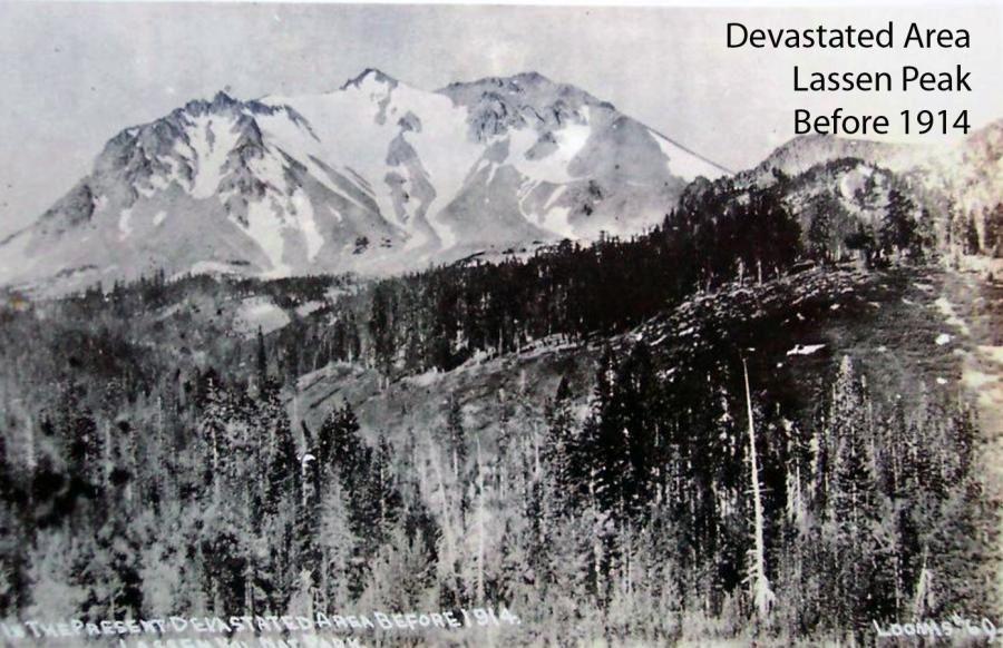 Lassen Peak en 1914, avant l'éruption explosive – photo de la Devastated area par B.F.Loomis / USGS