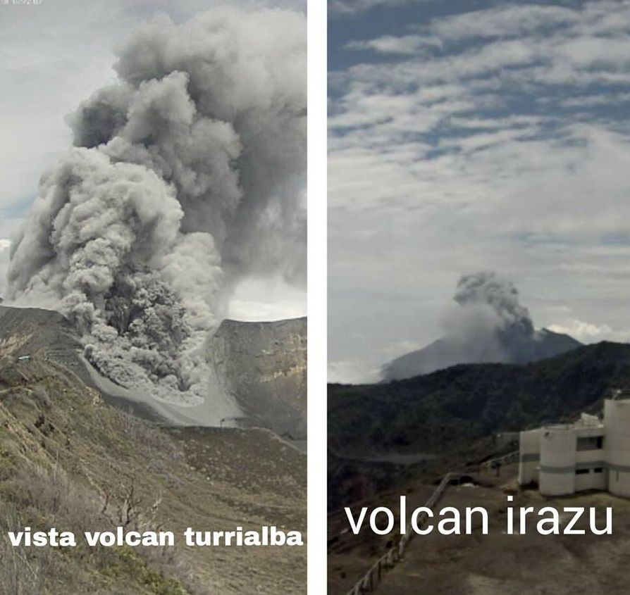 Turrialba - simultaneous view from the webcam of Turrialba, on the left and that of Irazu, on the right - Doc. Fiorella Castro