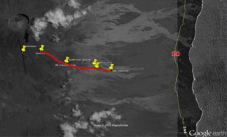 Map of flows of the Piton de la Fournaise on 19.05.2015 / to 13h - in Yellow: GPS points - in Black: being cooled lava flow - in Red: active lava flow - Doc. OVPF