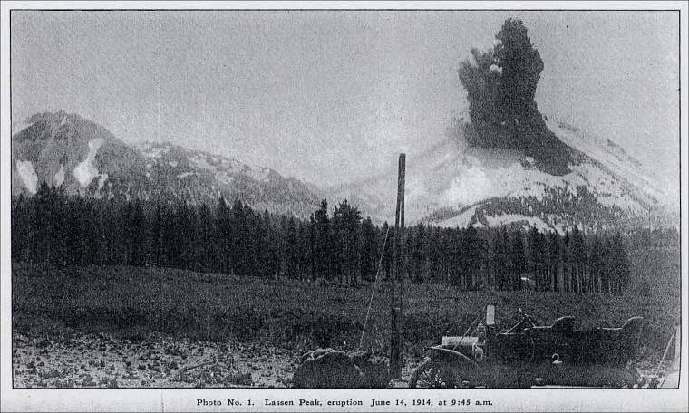 Lassen Peak - Steam Explosion and blast of June 14, 1914 at 9:45 am - photo BFLoomis of Manzanita Lake, 10 km from Lassen Peak / via Shasta County