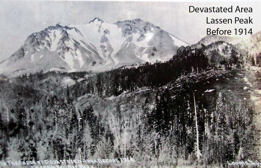 Lassen Peak in 1914, before the explosive eruption - photo of the Devastated area by BFLoomis / USGS