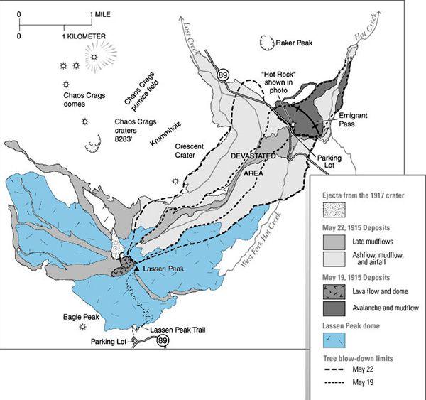 Deposits of eruptions and lahars of Lassen Peak 1915-1917 - Doc. USGS
