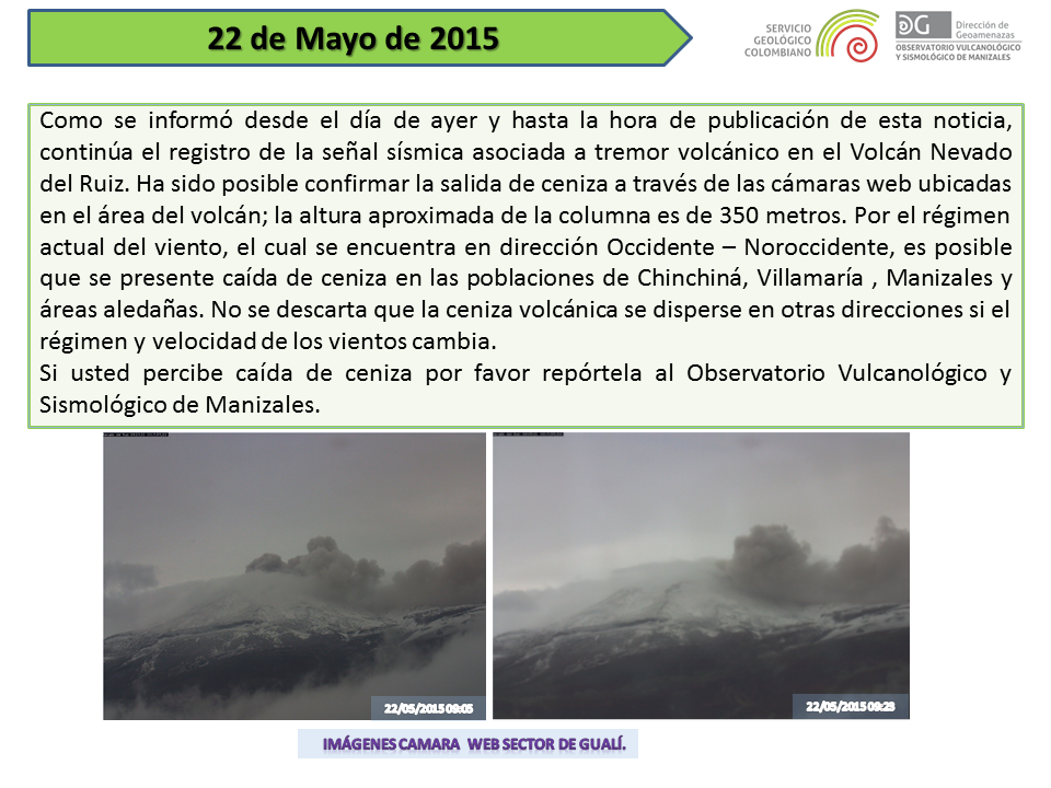 Nevado del Ruiz - report of 05.22.2015 - SGC Manizales